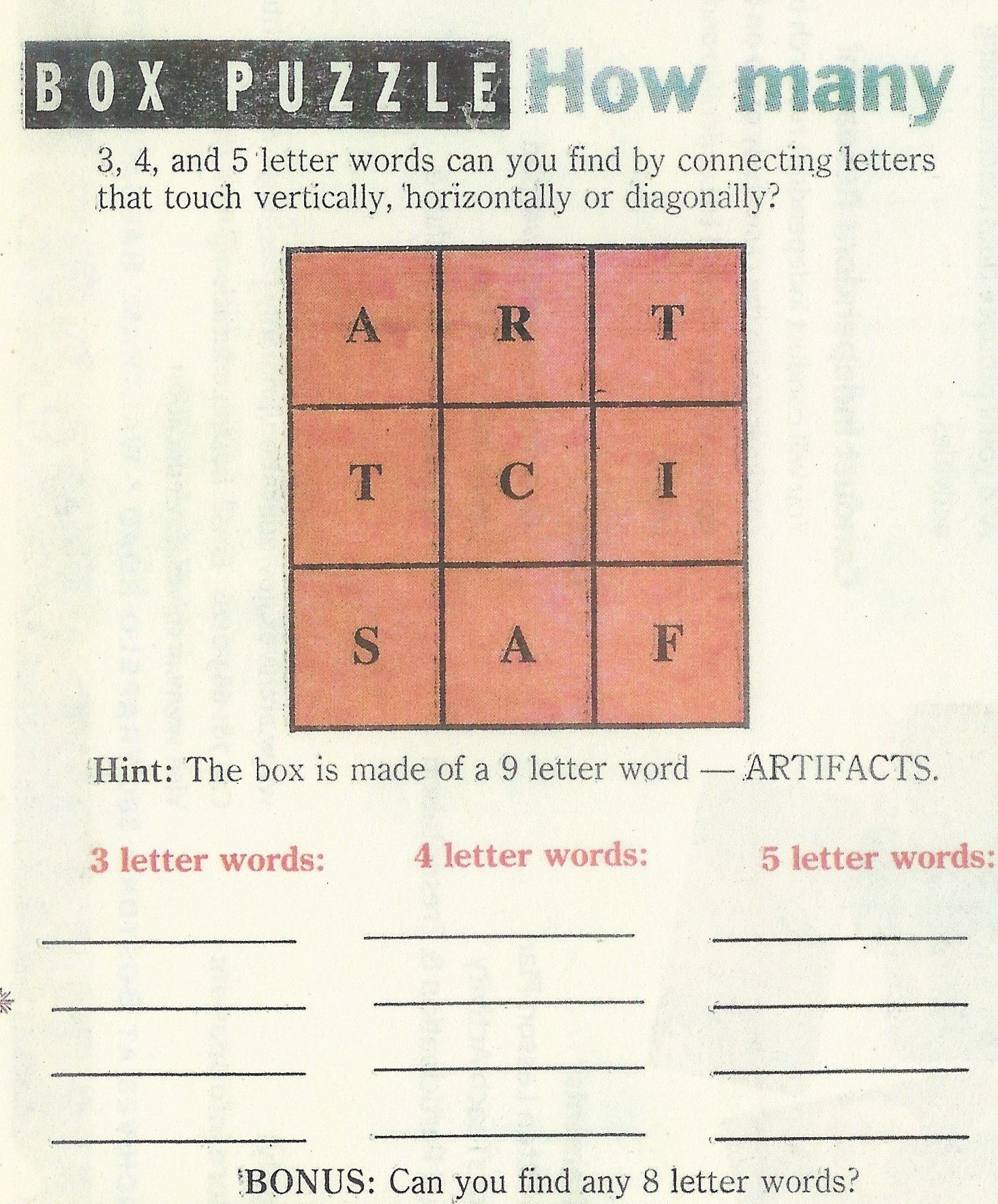 Artifact Word Box from Inquiry Unlimited practitioner formerly